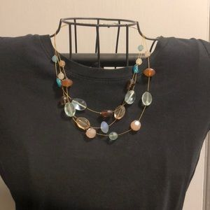 Brown and teal bead necklace